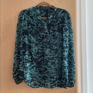 NWOT Scoop NYC Sheer Pussy Bow Blouse